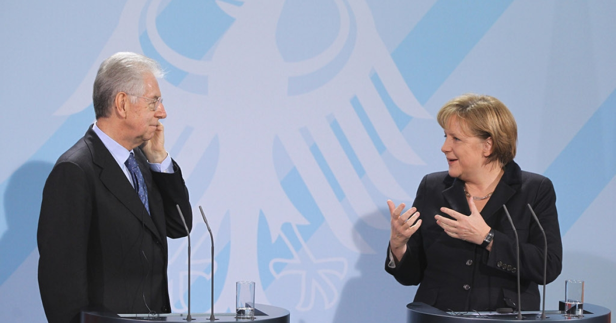Heckuva job, Monti, or words to that effect, as German Chancellor Angela Merkel praises Italian Prime Minister Mario Monti today for the reforms he has already brought to the Italian economy.</p>