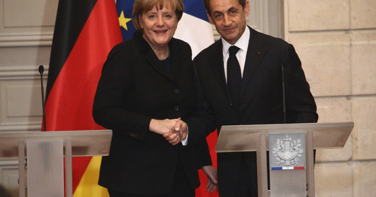 Perfectly balanced pair - Chancellor Angela Merkel and President Nicolas Sarkozy agree to a rescue plan for the euro zone centered on balanced budgets.</p>