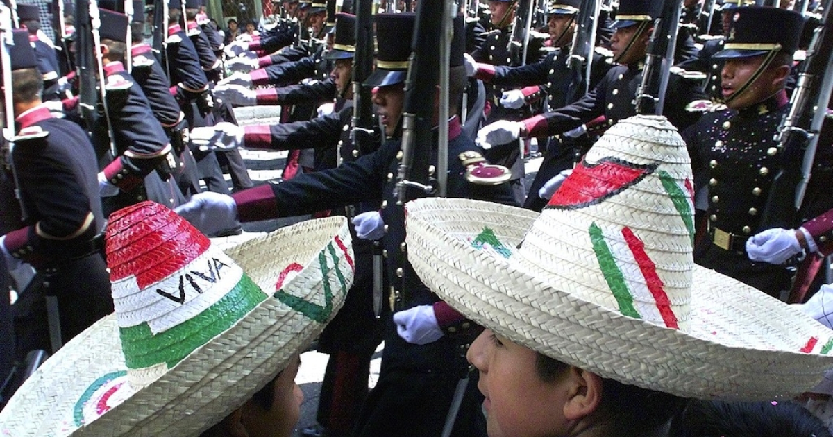 Celebrating Mexican Independence Day in Mexico City on September 16, 2000.</p>