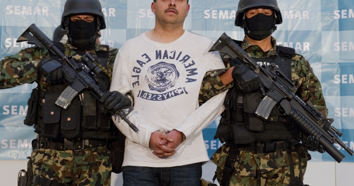 Sergio Antonio Mora Cortes, of the Zetas drug cartel and boss of Julian Zapata Espinoza, accused of the murder of US Immigration and Customs Enforcement agent Jaime Zapata, is presented to the press at the Mexican Navy headquarters in Mexico City, on Feb. 28, 2011.</p>