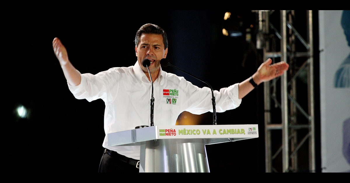 Mexican presidential candidate Enrique Peña Nieto, of the opposition Institutional Revolutionary Party (PRI), speaks to supporters at Plaza Liberacion in Guadalajara on March 30 to kick off his campaign.</p>