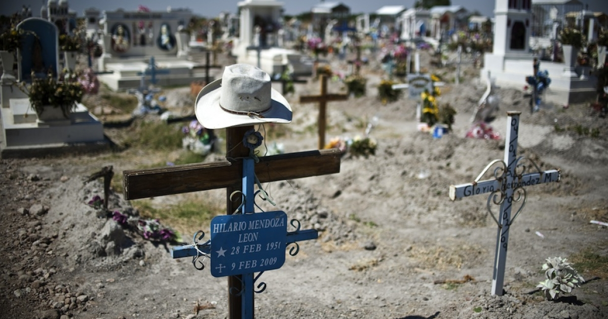 This picture taken on May 16, 2011 shows a cemetery in Durango, the capital of the Mexican state of the same name, where bodies found in several mass graves were to be given a proper burial. Durango state sits on a key drug smuggling route to the United States and has been the scene of many drug-related murders in recent years.</p>
