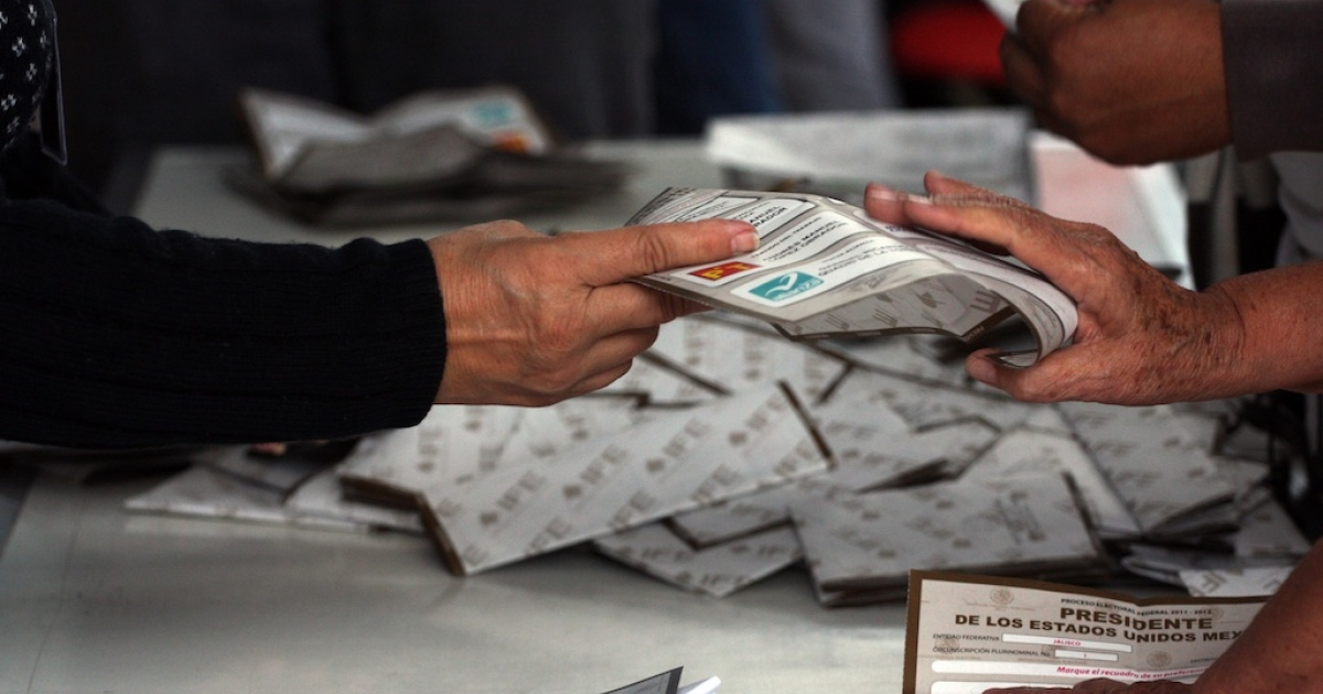 Officials count votes in Guadalajara, Mexico on July 1, 2012.</p>