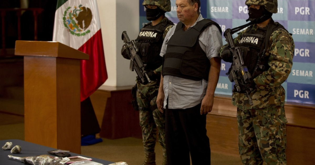 Suspected Gulf Cartel leader Mario Cardenas Guillen, or 'The Fat One,' is paraded in front of television cameras.</p>