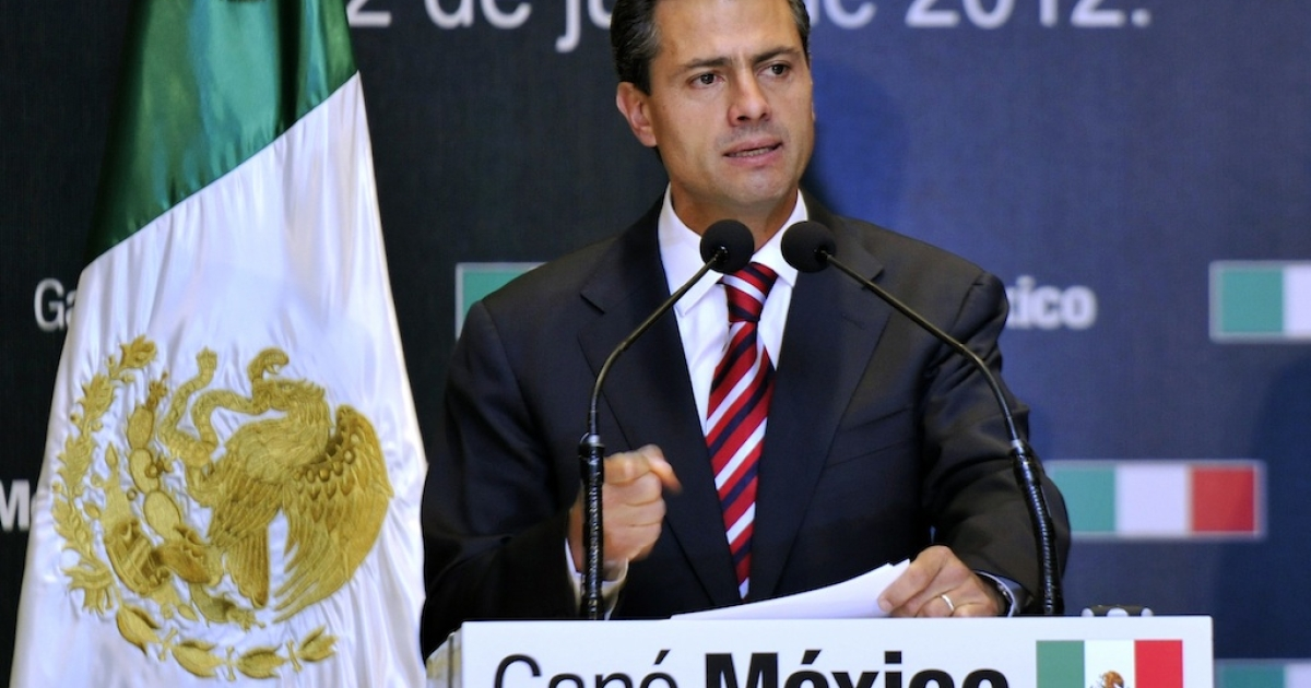President-elect Enrique Peña Nieto speaks during a press conference on July 2, 2012 in Mexico City.</p>