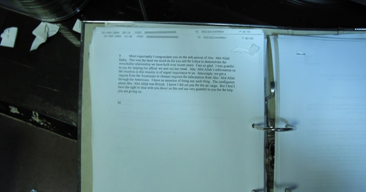 A notebook showing secret correspondence between the American and British intelligence agencies and Moussa Koussa, a top officer of Libyan leader Muammar Gaddafi's regime.</p>