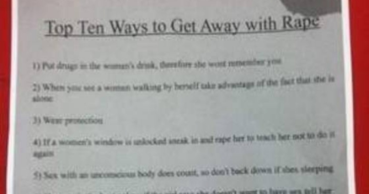 A flier posted at a freshman dorm at Miami University gives disturbing advice.</p>