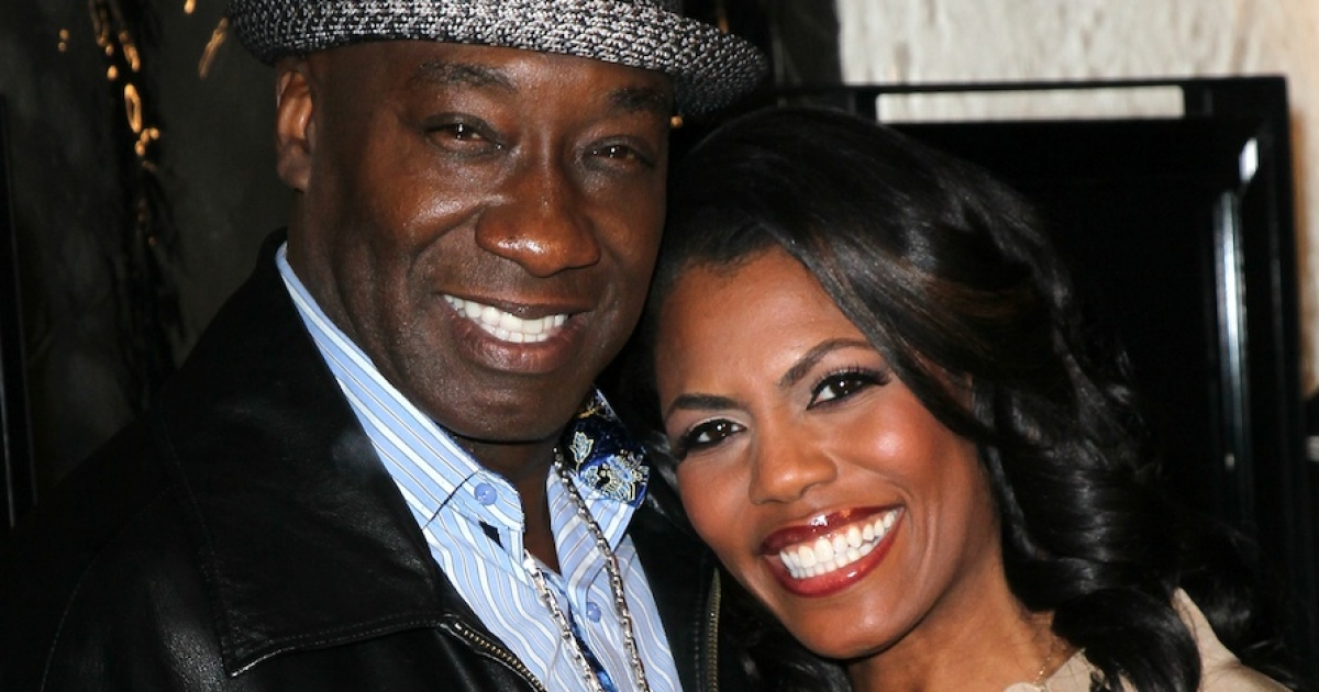 Michael Clarke Duncan and his fiancée Reverend Omarosa Manigault on February 13, 2012.</p>