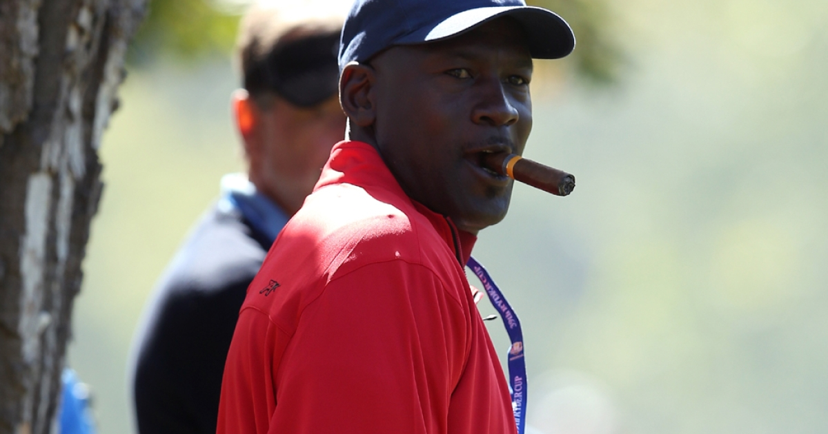 Former NBA player Michael Jordan walks the course during the Singles Matches for The 39th Ryder Cup at Medinah Country Club on Sept. 30, 2012 in Medinah, Ill.</p>