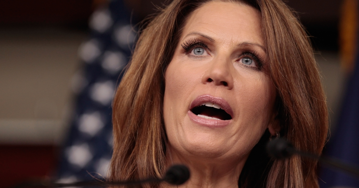 Republican presidential candidate Rep. Michele Bachmann (R-MN) delivers a response to the economic speech given by President Barack Obama at the U.S. Capitol September 8, 2011 in Washington, DC. Bachmann gave an unofficial rebuttal to the president's speech after Republicans decided to forego a formal one</p>