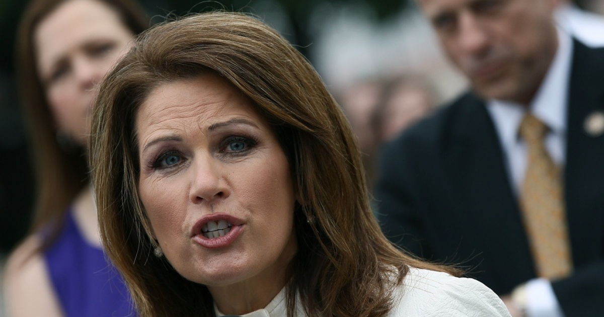 US Rep. Michele Bachmann speaks at a press conference outside the US Capitol on March 21, 2012 in Washington, DC.</p>