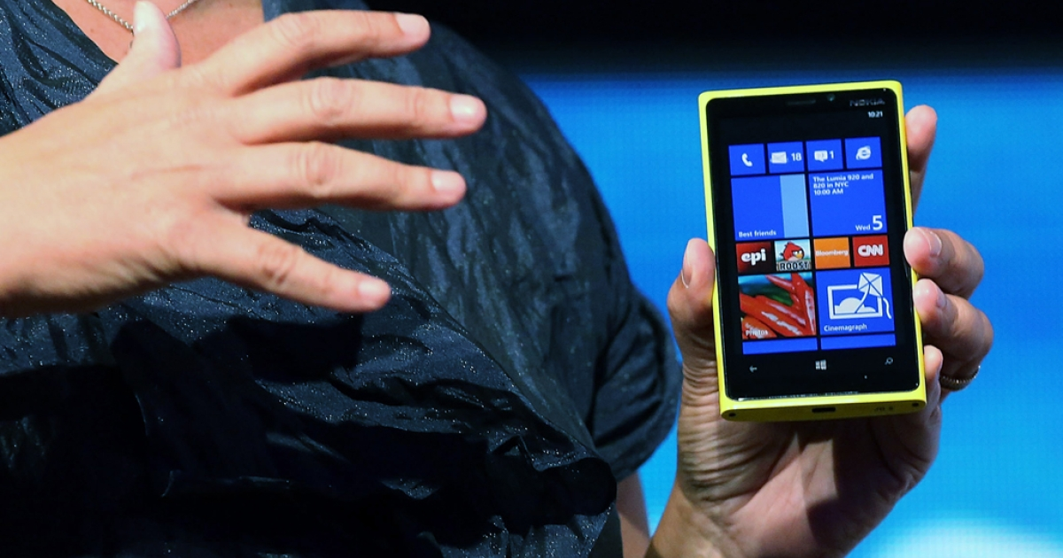 The new Nokia Lumia 920 Windows smartphone is displayed during a joint event with Microsoft on September 5, 2012 in New York City. The new Nokia phones are the first smartphones built for Windows 8.</p>