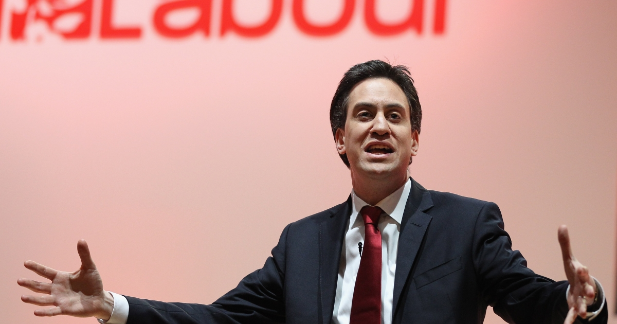 Labour Party Leader Ed Miliband gives the keynote address to delegates at the Scottish Labour Party Conference on March 2 in Dundee, Scotland.</p>