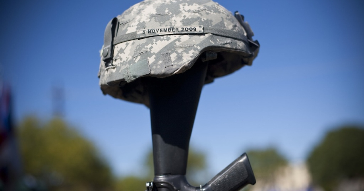 A soldiers memorial commemorates Nov. 5, 2009, when army psychiatrist Major Nidal Malik Hasan murdered 13 people and wounded 30 in the Ft. Hood attacks in Killeen, Texas.</p>