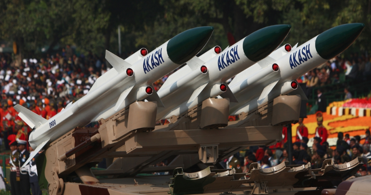 Replica missiles from the Akash Weapon System are displayed during the Republic Day Parade on January 26, 2009 in New Delhi, India.</p>