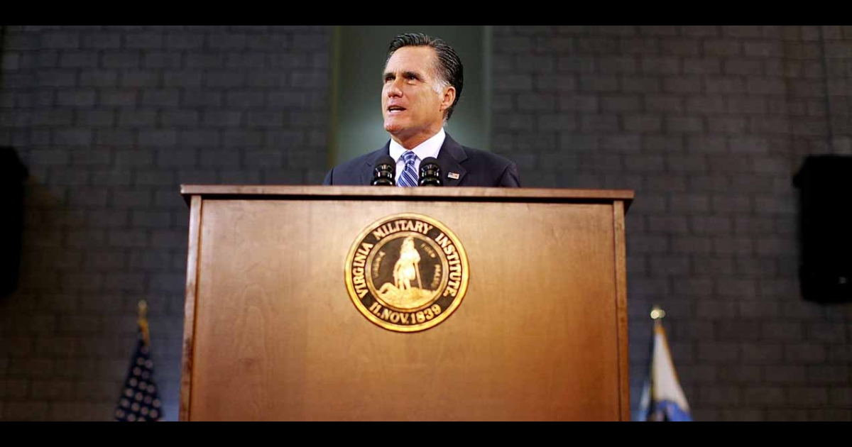 Mitt Romney delivers a foreign policy speech at the Virginia Military Institute on Oct. 8, 2012, in Lexington, Virginia.</p>