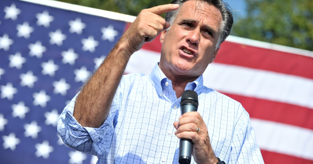 Republican presidential candidate Mitt Romney speaks at a campaign rally in Fairfax, Va., on Sept. 13.</p>