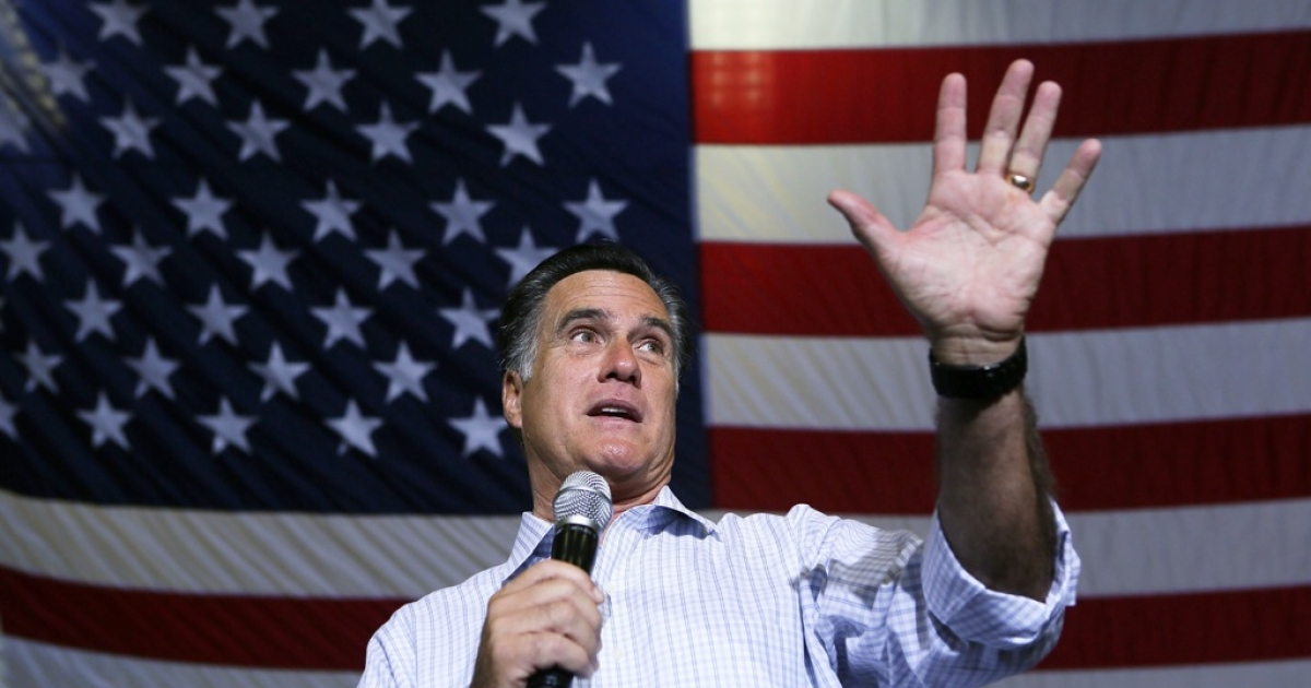 Republican US presidential candidate Mitt Romney speaks during a campaign rally at Westerville South High School September 26, 2012 in Westerville, Ohio. Romney continued his two-day 'Romney Plan For A Stronger Middle Class' bus tour in the state of Ohio.</p>