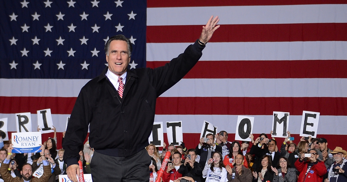 US Republican Presidential candidate Mitt Romney holds a rally in Virginia Beach, Va., Nov. 01.</p>