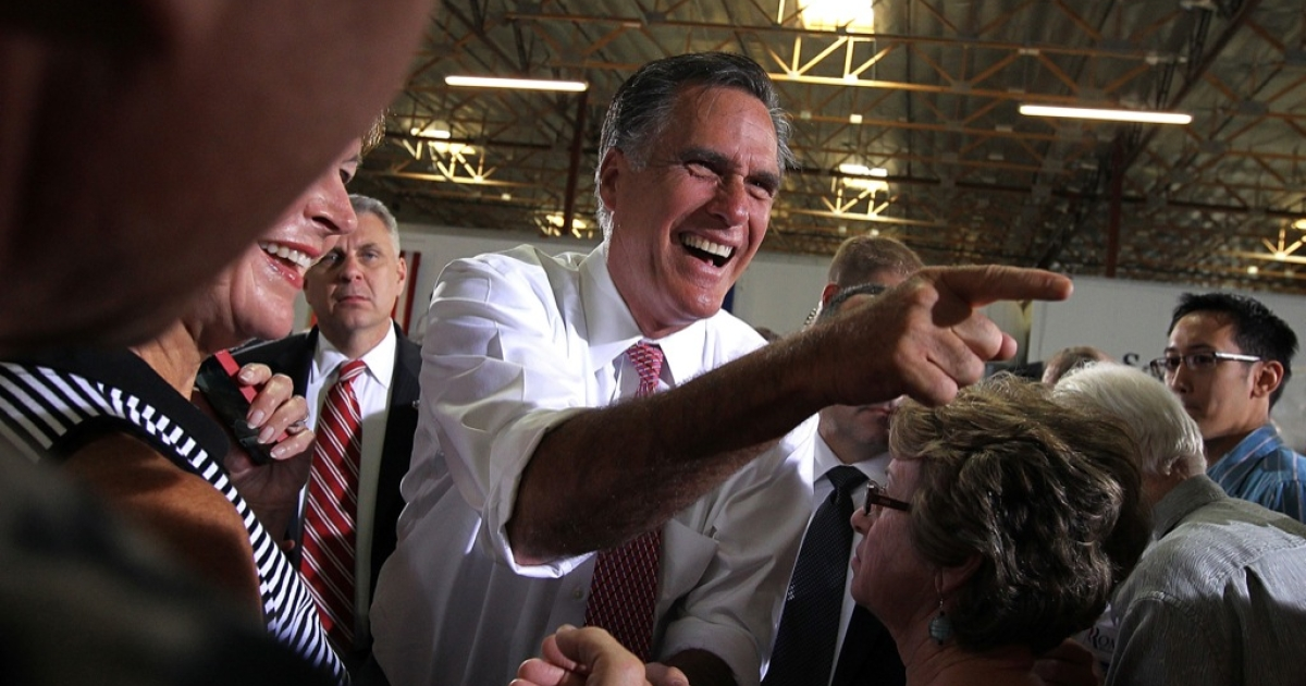 Republican presidential candidate, former Massachusetts Gov. Mitt Romney greets supporters during a campaign rally at Somers Furniture on May 29, 2012 in Las Vegas, Nevada. Mitt Romney is holding campaign event and attending a fundraiser hosted by Donald Trump in Las Vegas.</p>
