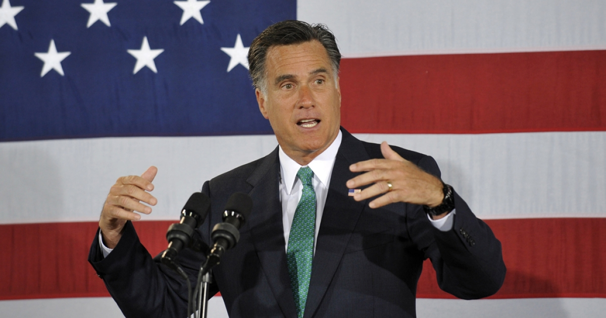 Republican presidential candidate and former Massachusetts Gov. Mitt Romney speaks to supporters during a campaign stop on April 18, 2012. Romney won the Nebraska and Oregon primaries on May 15, 2012.</p>