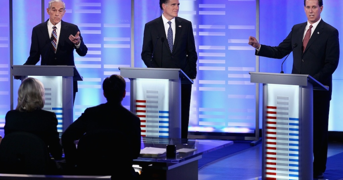 U.S. Rep. Ron Paul (R-TX), former Massachusetts Gov. Mitt Romney, former U.S. Senator Rick Santorum (R-PA), at the Republican Presidential Debate debate at Saint Anselm College January 7, 2012 in Manchester, New Hampshire.</p>