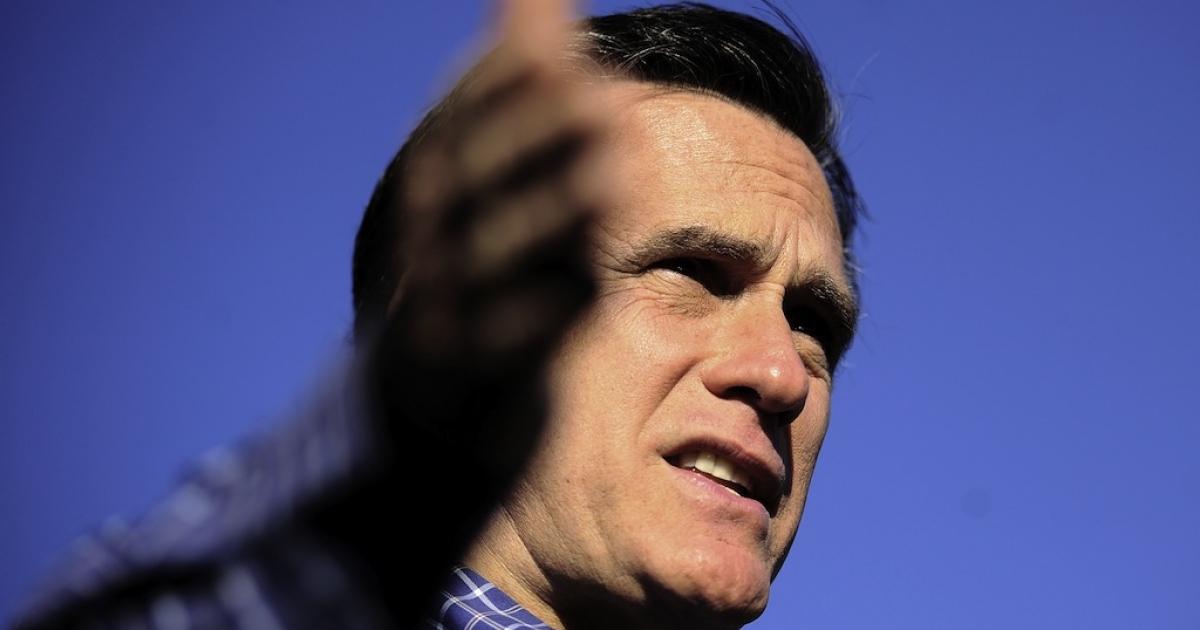 Republican presidential hopeful Mitt Romney holds a veterans rally in Pensacola, Florida, January 28, 2012. Florida will hold its Republican primary on January 31, 2012.</p>