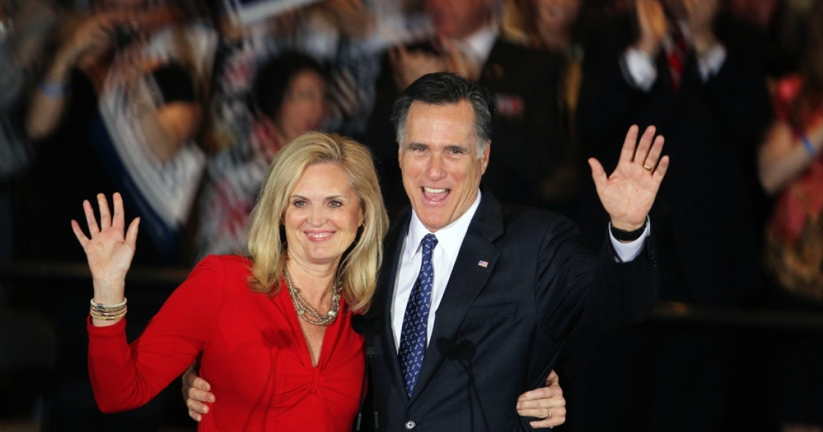 Republican presidential candidate, former Massachusetts Gov. Mitt Romney and his wife Ann Romney greet supporters during an Illinois GOP primary victory party at the Renaissance Schaumburg Convention Center Hotel March 20, 2012 in Schaumburg, Illinois.</p>