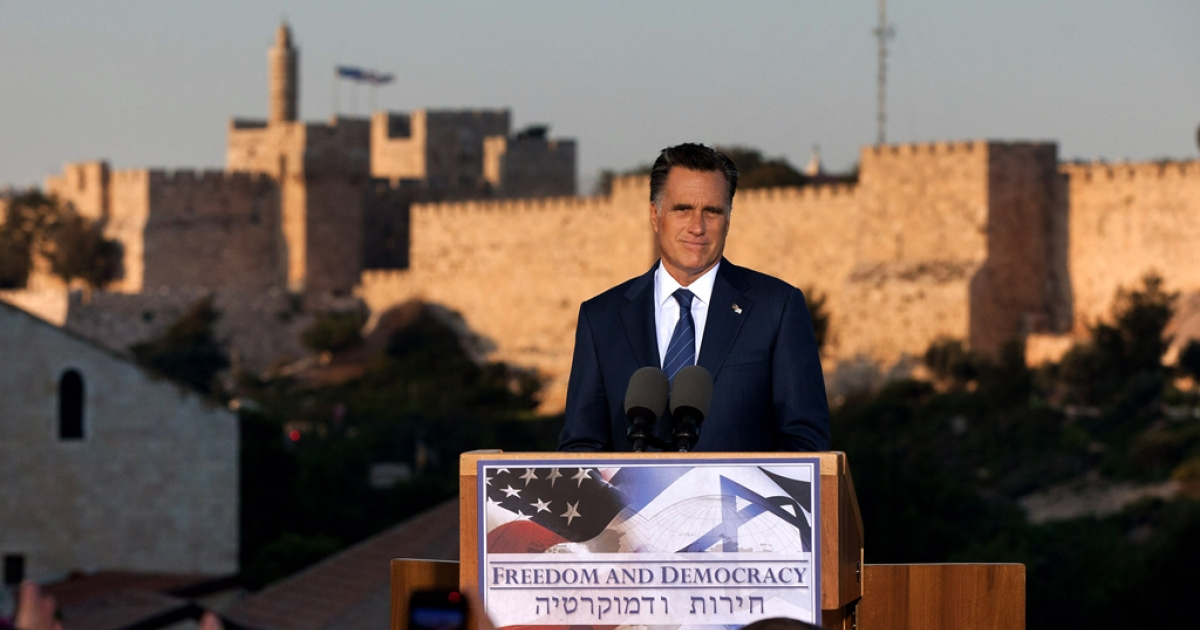 US Republican presidential candidate, former Massachusetts Gov. Mitt Romney delivers a speech outside the Old City on July 29, 2012 in Jerusalem, Israel. Romney stated that he backs Israel's right to defend itself against the threat of a nuclear Iran. He is in Israel as part of a three-nation foreign diplomatic tour which also includes visits to Poland and Great Britain.</p>