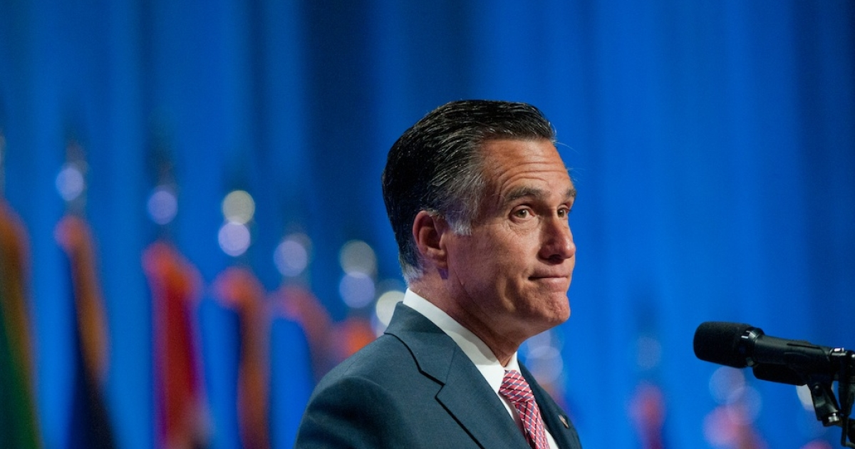 Republican presidential candidate, former Massachusetts Gov. Mitt Romney addresses the crowd at the 134th National Guard Association Convention at the Reno-Sparks Convention Center, September 11, 2012 in Reno, Nevada.</p>