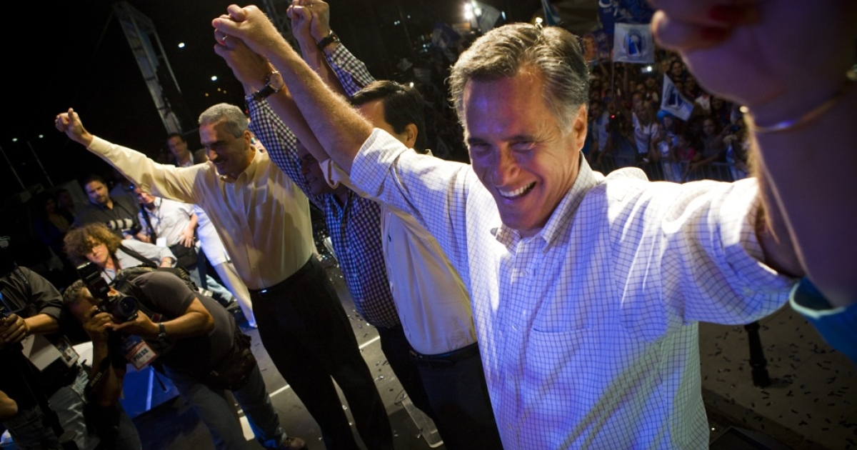Republican presidential candidate, former Massachusetts Gov. Mitt Romney attends a New Progressive Party rally on the North Side of the Capitol building March 16, 2012 in San Juan, Puerto Rico.</p>