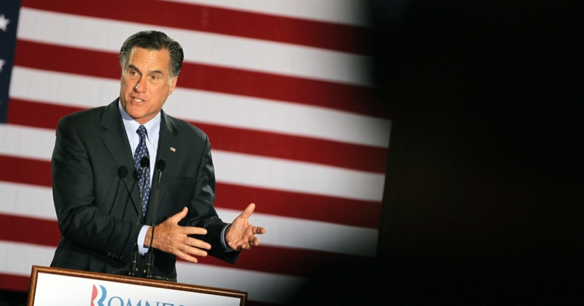 Republican presidential candidate, former Massachusetts Governor Mitt Romney speaks to supporters at an election-night rally April 3, 2012 in Milwaukee, Wisconsin.</p>