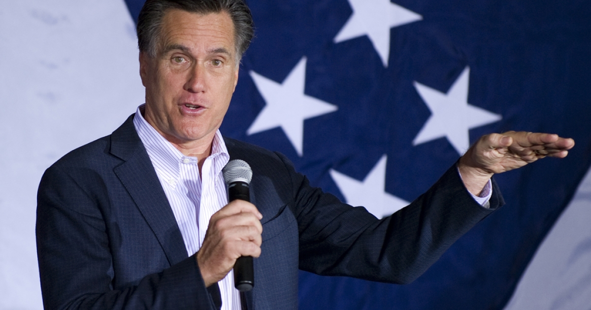 Republican presidential candidate Mitt Romney speaks at a rally in Zanesville, Ohio, March 5, 2012, ahead of voting on Super Tuesday.</p>