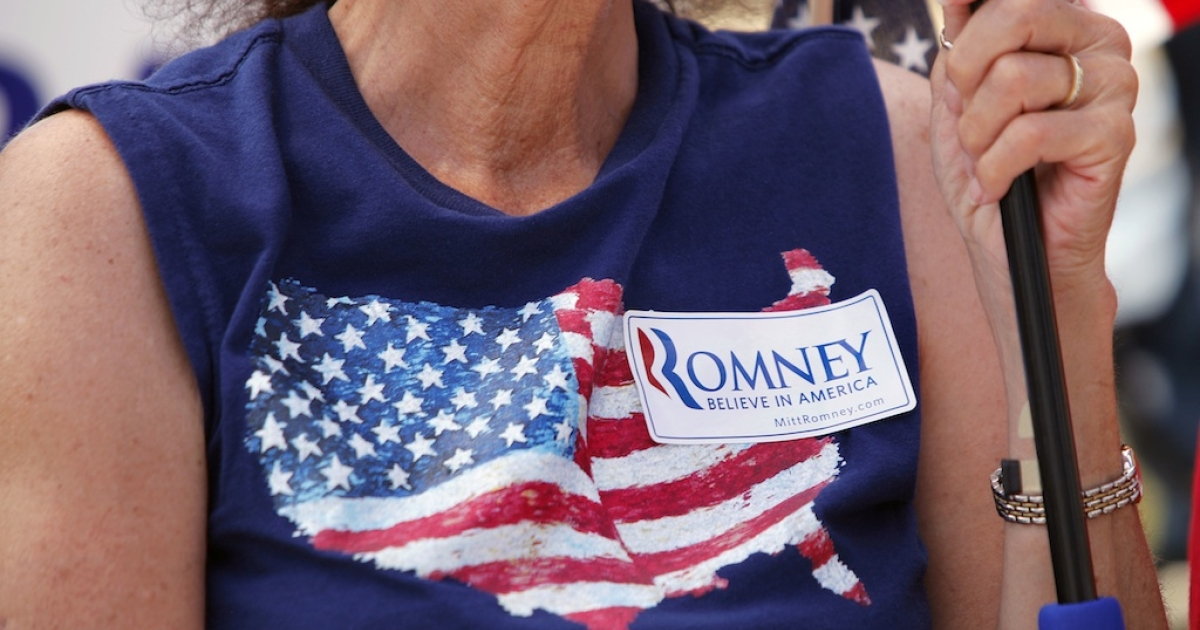 A supporter of Republican presidential candidate Mitt Romney. Where was this T-shirt made?</p>