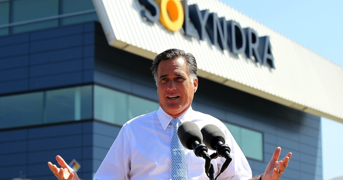 Republican presidential candidate Mitt Romney speaks at Solyndra on May 31, 2012 in Fremont, California.</p>