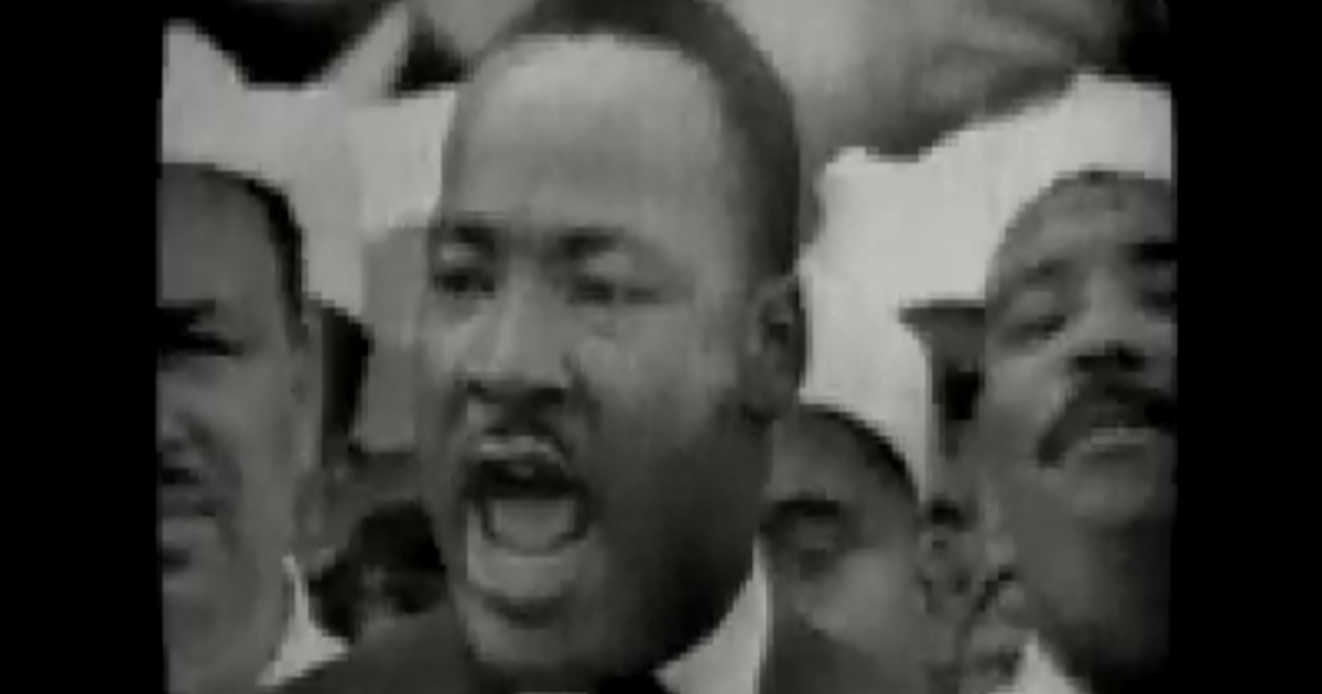 A screen grab from a video of Dr. King delivering his speech.</p>