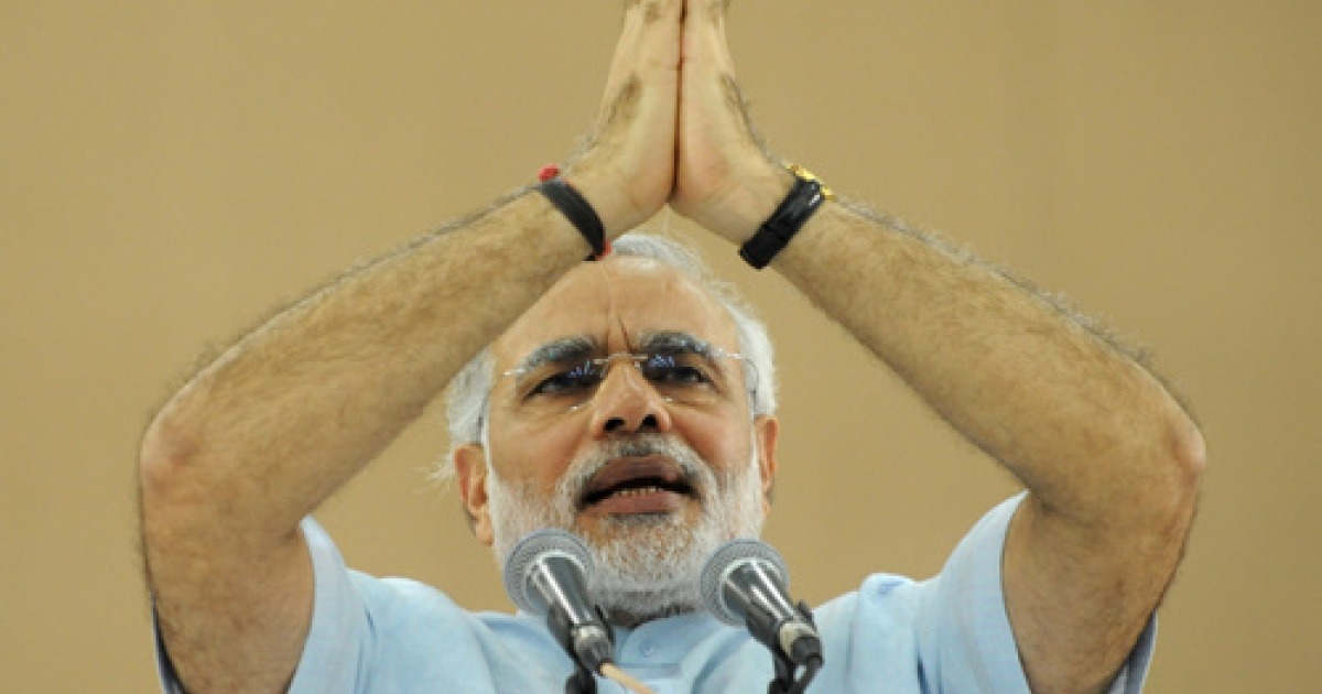 India's Gujarat state Chief Minister Narendra Modi speaks during a ceremony concluding his three-day fast in Ahmedabad on September 19, 2011. Indian Hindu nationalist leader Narendra Modi ended a three-day fast seen as an attempt to bury his controversial past and promote him as a serious prime ministerial contender.</p>