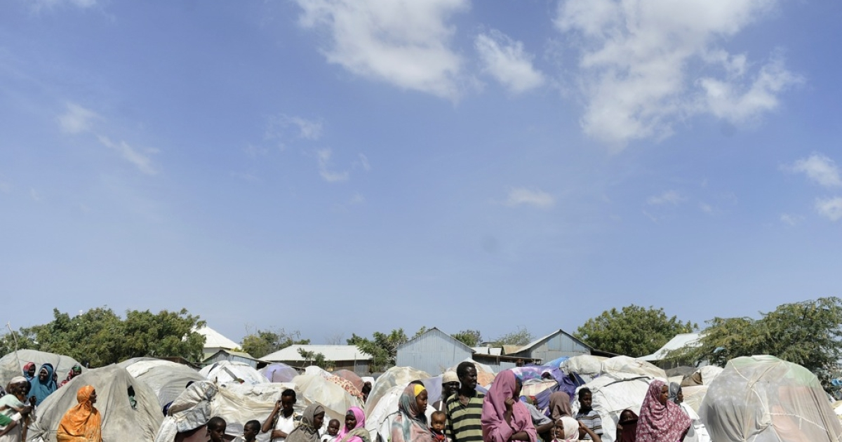 A photo taken on January 19, 2012 shows Somalis displaced by famine at an IDP camps near Adan Ade airport, in the capital Mogadishu. Surveying Somalia's war-torn and dangerous capital from his office, the commander of the African Union force here Fred Mugisha is optimistic: '98 percent of Mogadishu is free.'</p>