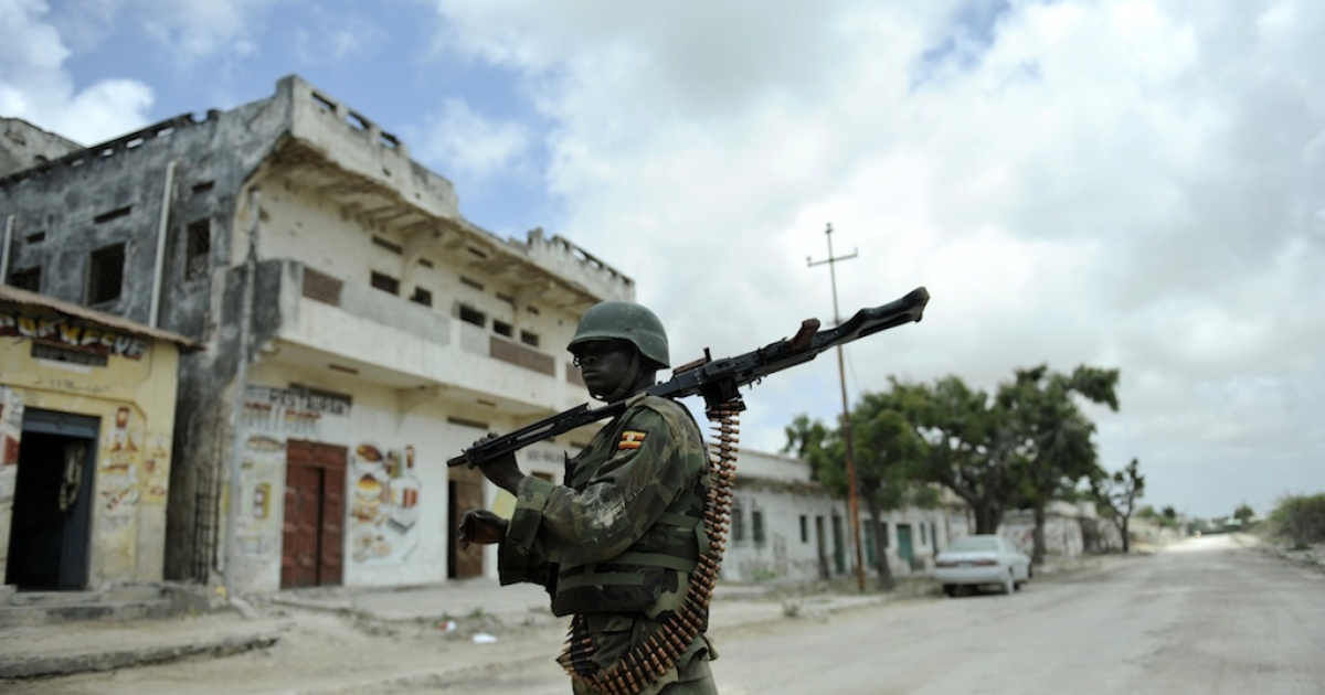 The threat from groups linked to Al Qaeda in Africa and the Middle East is growing.  In this picture taken on Oct. 5, 2011, an officer of the African Union's peacekeeping force in Somalia mans a frontline position near the Mogadishu stadium, captured from Al Shabaab hardline extremists.</p>