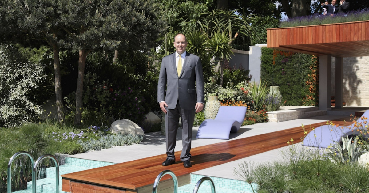 Prince Albert of Monaco visits the Monaco Garden during Chelsea Flower Show Press and VIP Day on May 23, 2011 in London, England.</p>