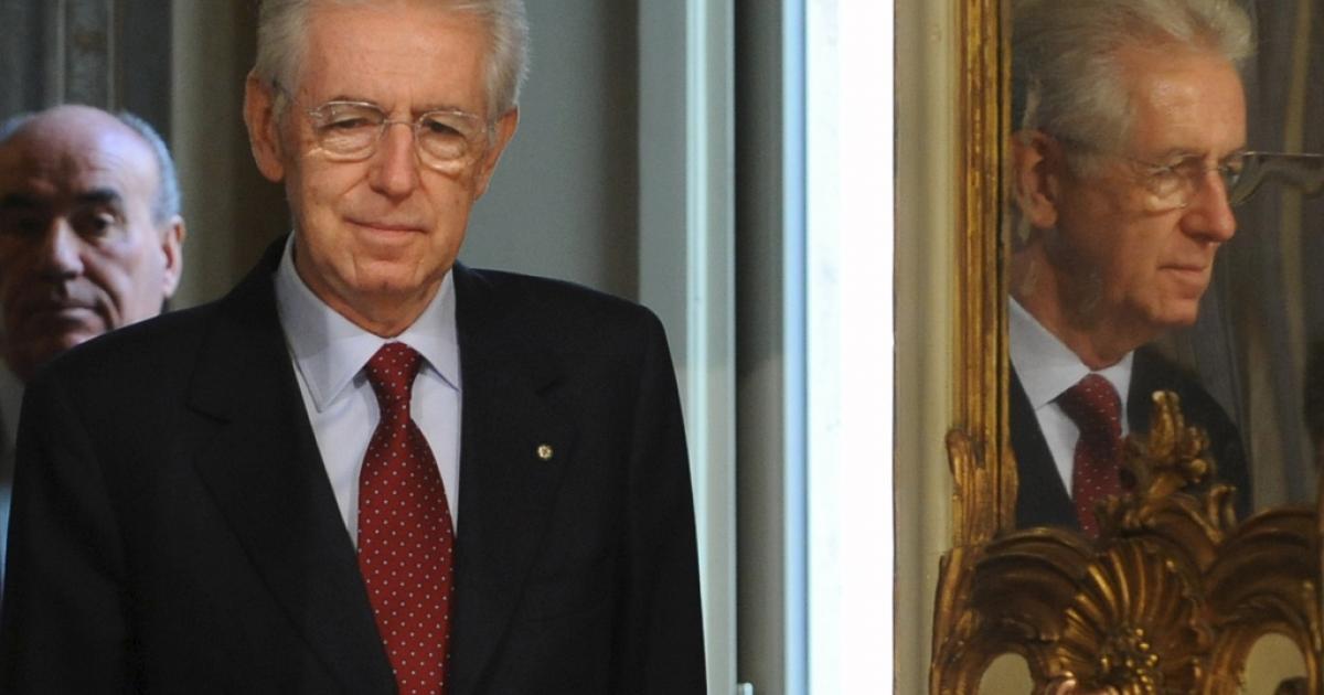 Mario Monti in Rome yesterday.</p>