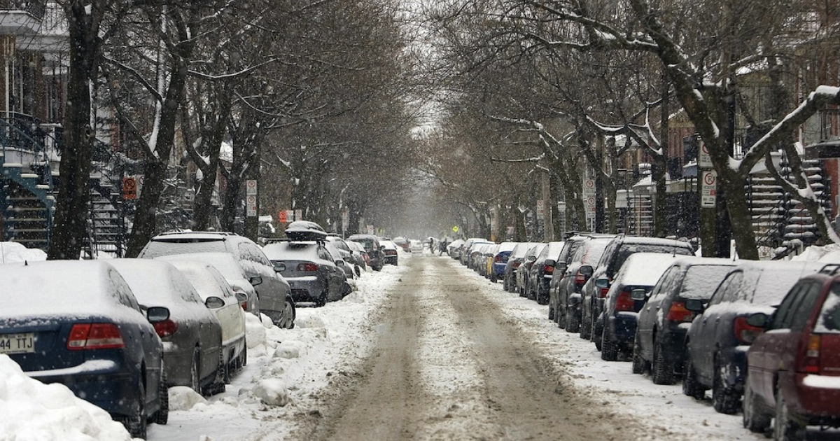 A street in the Plateau Mont-Royal district of Montreal, Canada, is covered with snow on March 15, 2008.</p>