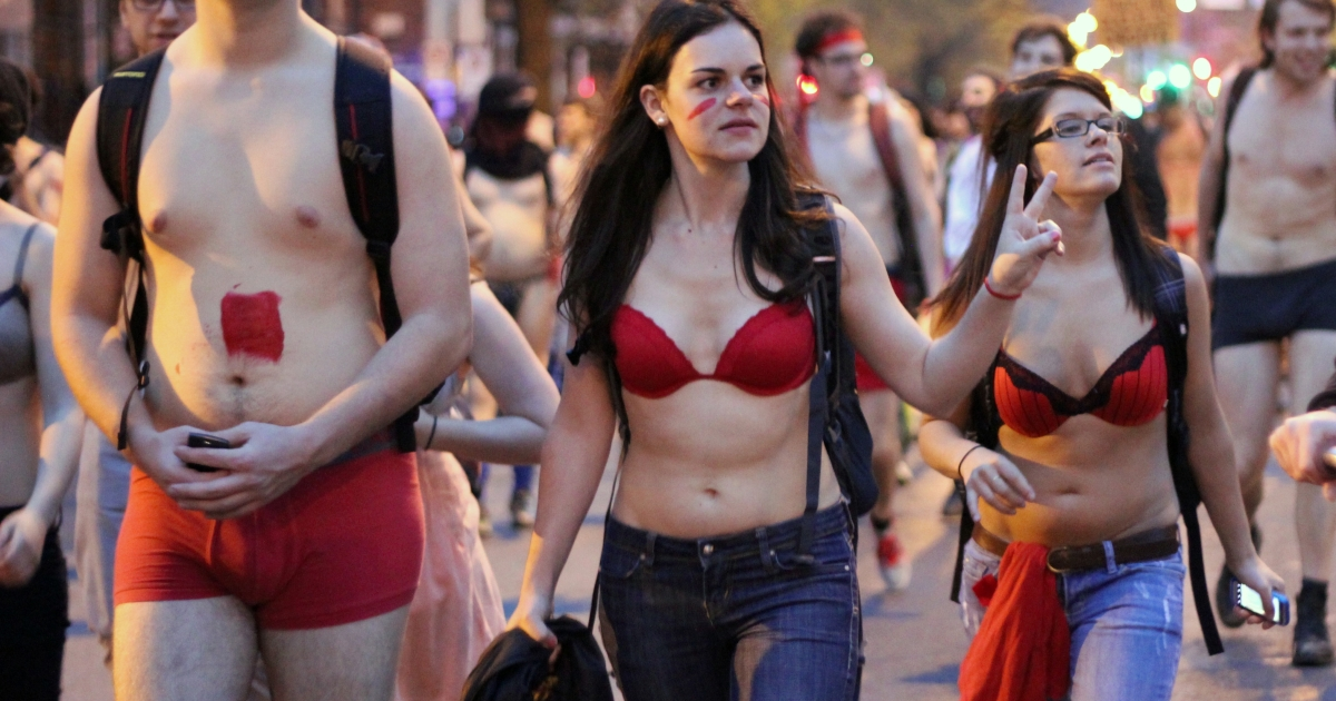 Semi-dressed student protesters march against tuition hikes in Montreal on May 3. Thousands of students paraded in various states of undress through the streets of Montreal in opposition to tuition hikes.</p>