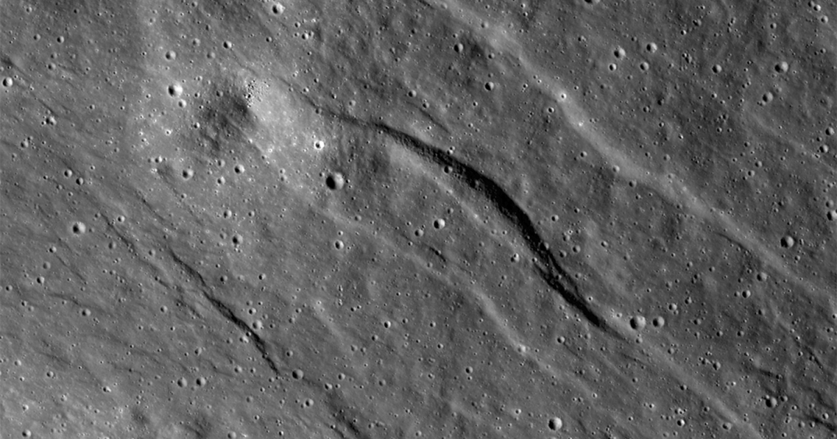 The largest of the newly detected graben found on the far side of the moon. The broadest graben is about 500 meters (1,640 feet) wide. Topography derived from Lunar Reconnaissance Orbiter Camera (LROC) Narrow Angle Camera (NAC) stereo images indicates they are almost 20 meters (almost 66 feet) deep.</p>