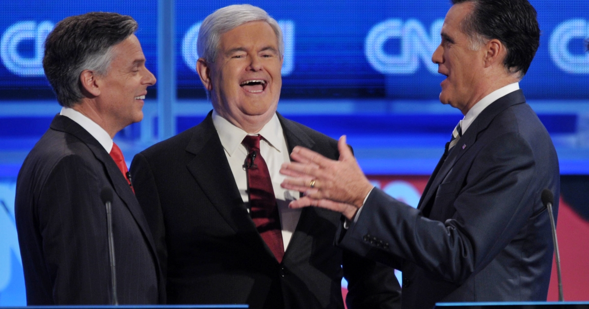 Two Mormon candidates, Mitt Romney and Jon Huntsman (seen here with Newt Gingrich) are campaigning for the Republican seat in the 2012 presidential election.</p>