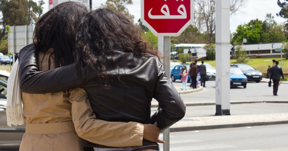 In Morocco, coming out is a choice that could destroy lives. Typical social behavior for women includes close physical contact, as pictured above, but gay women often must leave to start again elsewhere or stay and live in silence.</p>