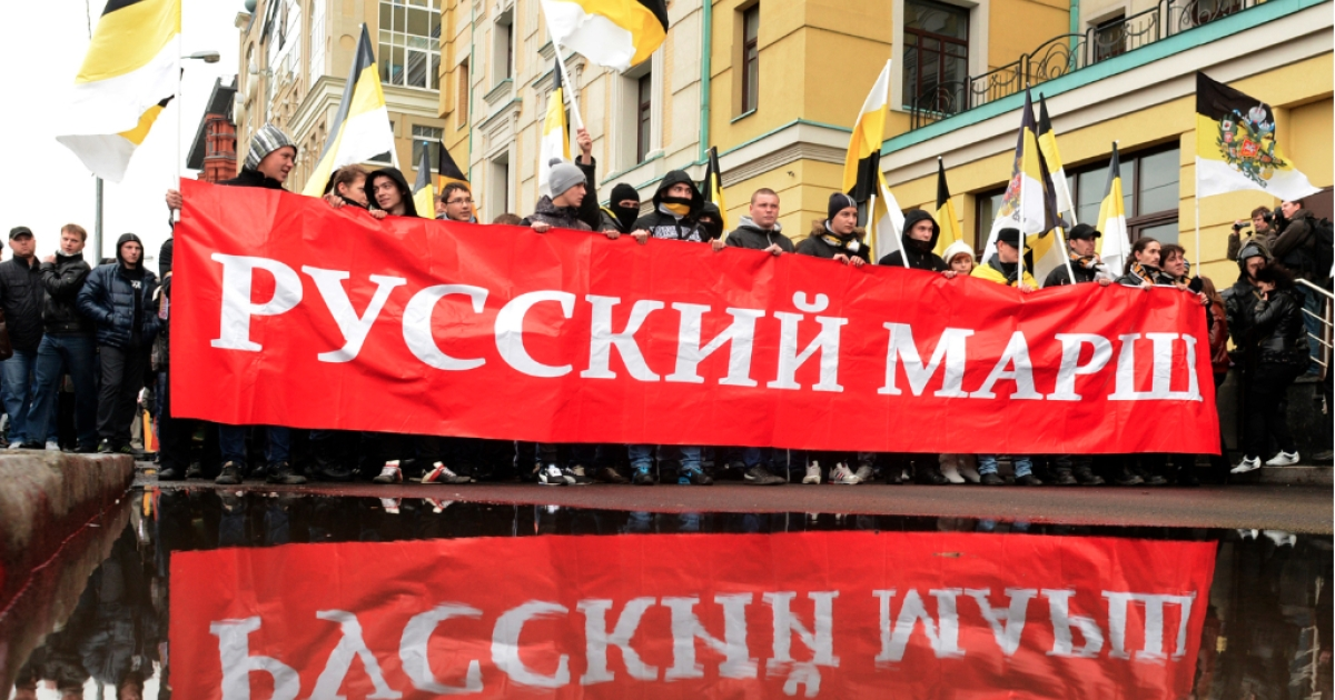 Russian ultra-nationalists wave Russian Empire's black-yellow-white flags and hold banner as they take part in the so-called 'Russian March' in central Moscow on November 4, 2012, marking the National Unity Day. The annual Russian March is timed to coincide with the Day of Popular Unity, a national holiday which this year marks the 400th anniversary of the 1612 expulsion of Polish occupiers from the Kremlin in Moscow. Members of nationalist movements of all hues will take to the streets as Putin, who returned to the Kremlin for a third term in May, is struggling with the worst political crisis since he came to power 12 years ago.</p>