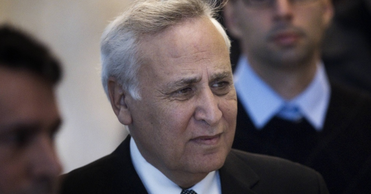 Former Israeli president Moshe Katsav arrives at the Supreme Court in Jerusalem on Nov. 10, 2011.</p>