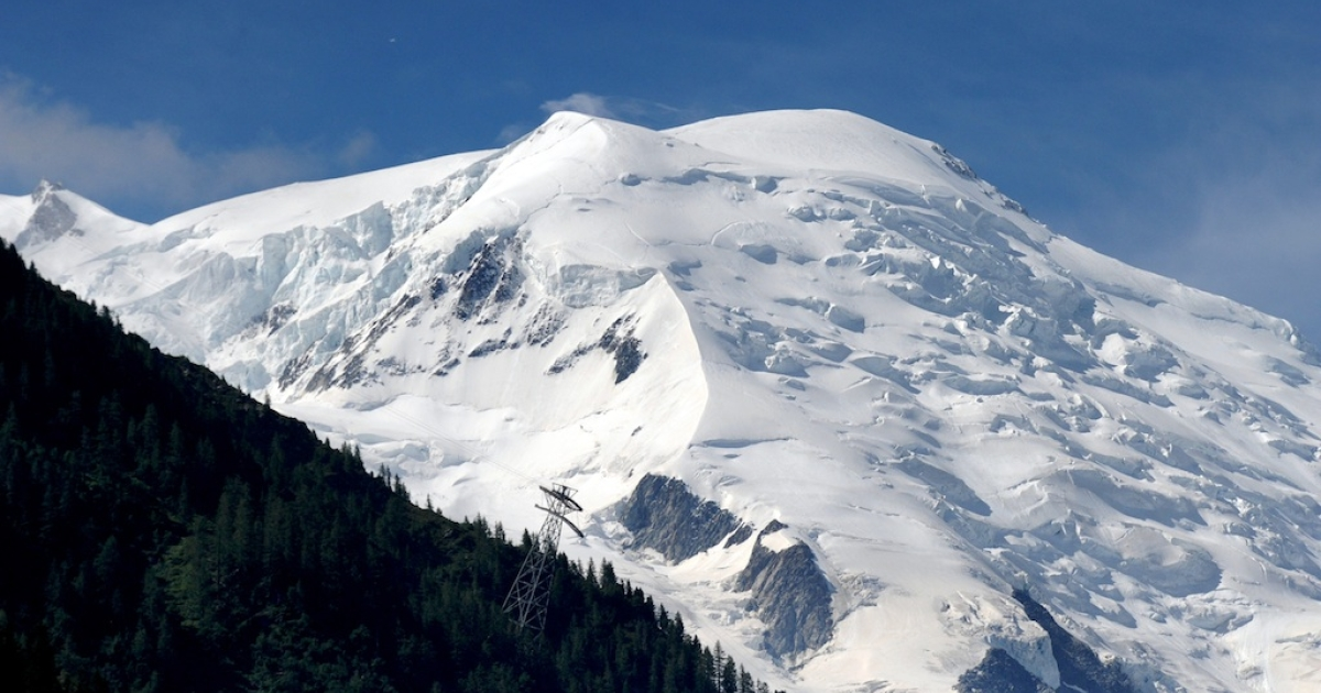 A picture taken on July 12, 2012 in the French Alps shows the Mont Blanc massif.</p>
