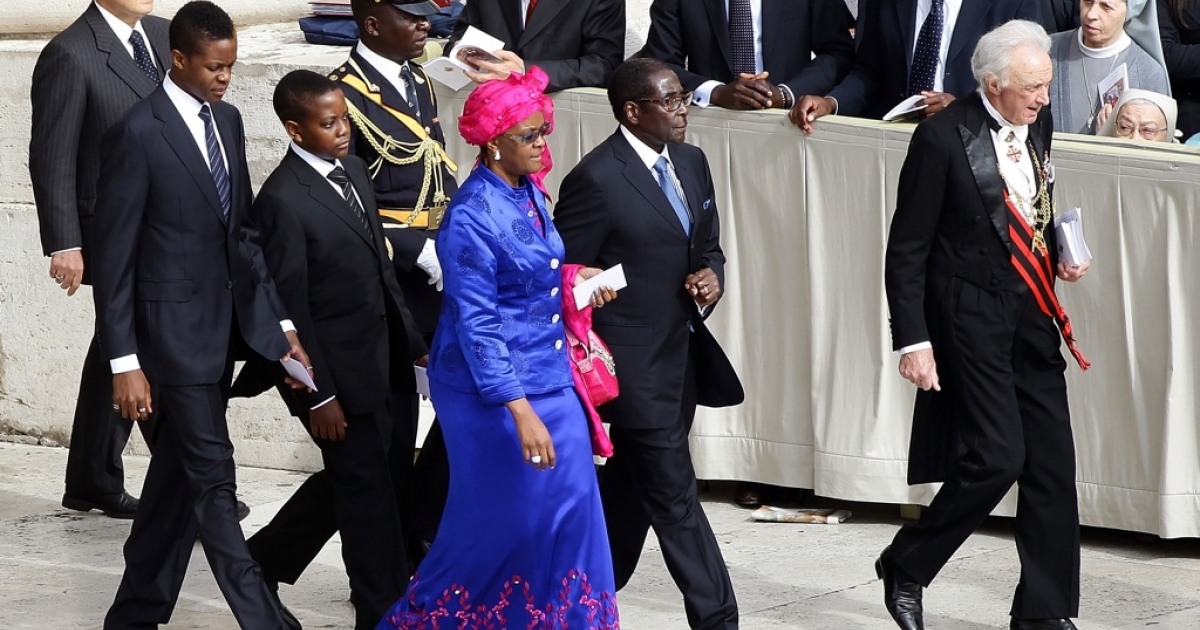 Zimbabwean President Robert Mugabe and his wife, Grace, and their sons at St. Peter's Basilica on May 1, 2011 in Vatican City, Vatican.</p>